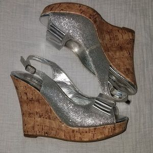 Silver glitter and cork wedges